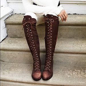 JEFFREY CAMPBELL LACE UP SUEDE OVER THE KNEE BOOTS